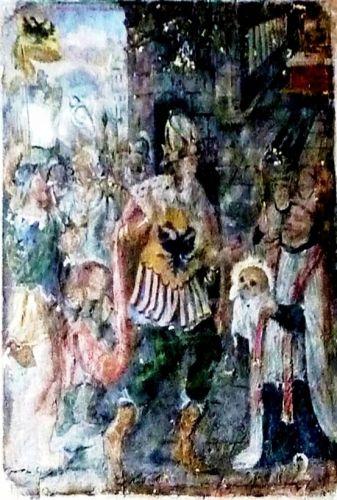 Le deuxième des compartiments montre l'empereur d'Occident (Charlemagne ?) désigné par l'aigle noir à deux têtes présent sur un oriflamme et sur sa cuirasse. Il est à Compostelle. Un prêtre revêtu d'un large surplis et de l'étole rouge tient respectueusement, les mains couvertes d'un voile blanc, le chef de saint Jacques. Il va le remettre à l'empereur. Des rayons entourent la relique.