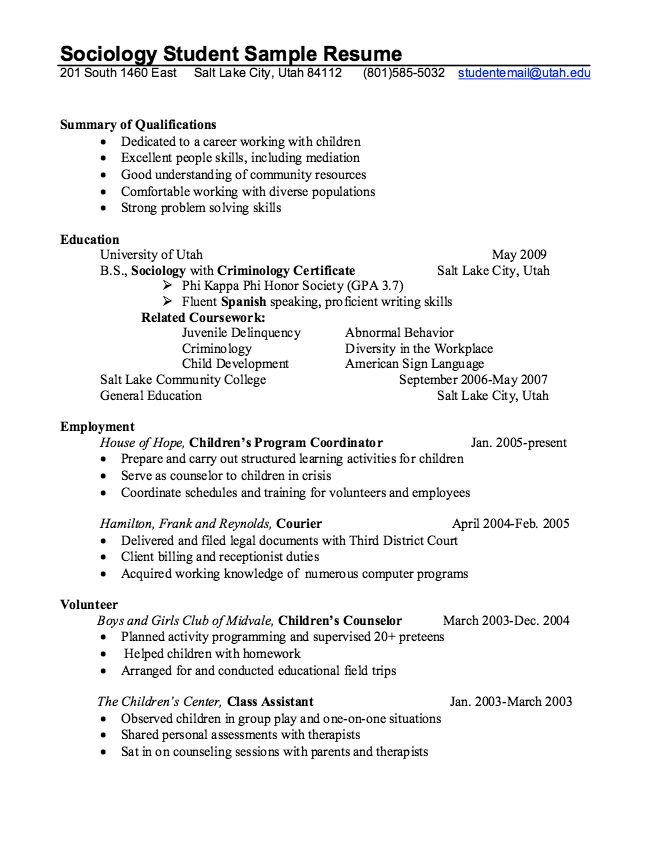 Sociology Student Resume Example - http\/\/resumesdesign - an example of a resume