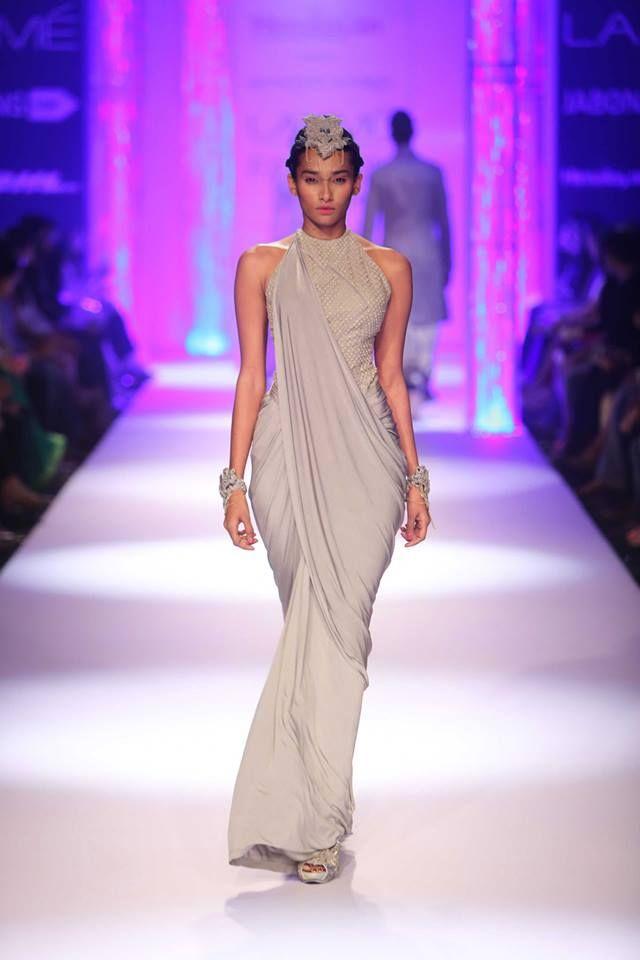 Grey fusion Indian halter sari by Shantanu & Nikhil at Lakme Fashion Week Winter 2014
