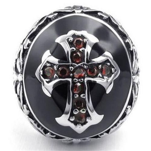 Mens Cubic Zirconia Stainless Steel Ring, Vintage Celtic Cross, Red Black Silver