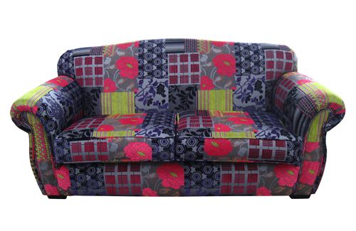 Our Paris Sofa done in a patchwork fabric.