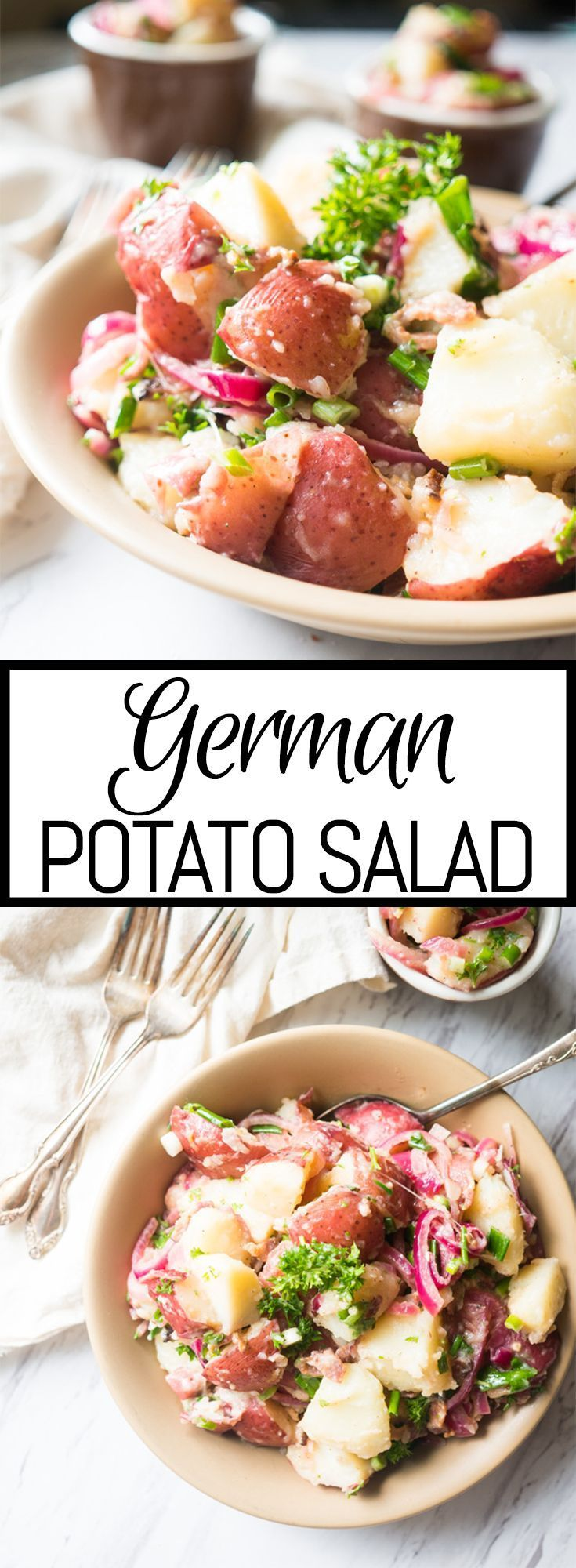 German Potato Salad with Bacon and Red Onion. Zippy, fresh, and without MAYO, this potato salad is the perfect side for a summer BBQ.