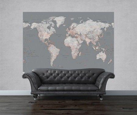 Mapa świata - srebrna - fototapeta - 232x158 cm  Gdzie kupić? www.eplakaty.pl