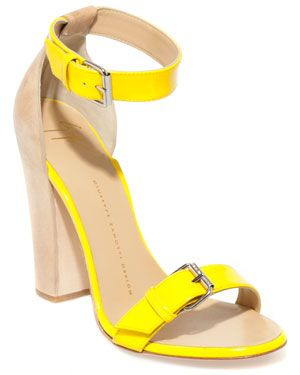 nude + yellow: Nude Shoes, Fashion Shoes, Giuseppe Zanotti, Yellow Sandals, Yellow Shoes, Yellow Heels, Patent Sandals, White Jeans, Girls Shoes