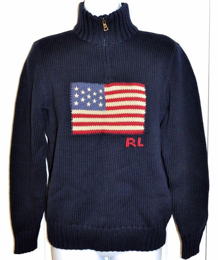RALPH LAUREN Boy's Sweater POLO USA Flag Red White & Blue Cotton 14-16 L/G  NWT