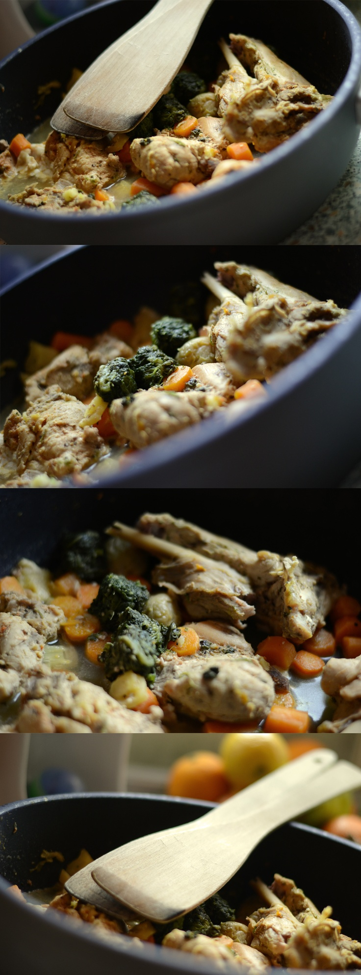 Grilled rabbit with vegetables and spinach...