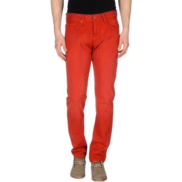 7 For All Mankind Jeans ($65) ❤ liked on Polyvore featuring men's fashion, men's clothing, men's jeans, red, 7 for all mankind mens jeans, mens red jeans and mens straight leg jeans