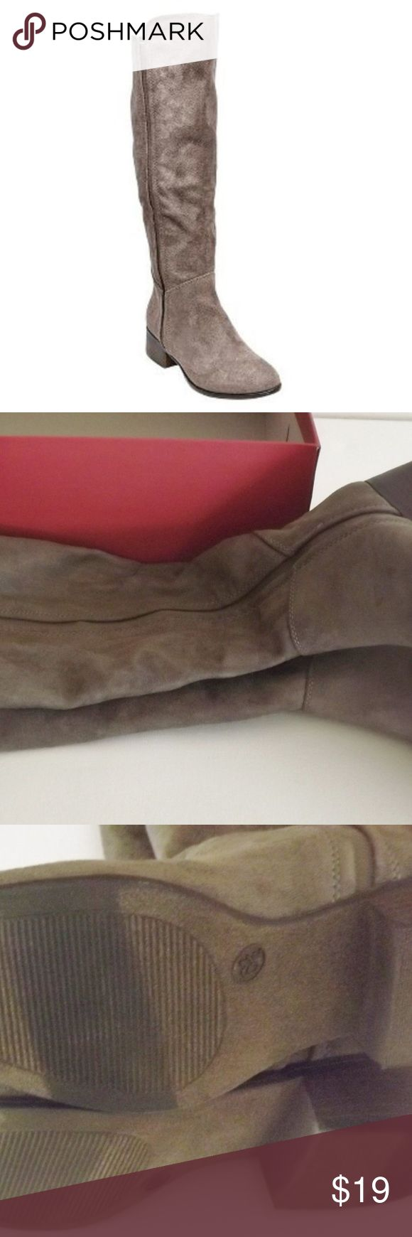 Evie Knee-High Pull-on Faux Suede Riding Boots NWT Merona Evie Tall Knee-High Pull-on Faux Suede Gray/Grey Riding Boots NWT New with Tag and Original Box! Great for Fall!!  Boot Style: Knee Boot Shaft Circumference: Approximately 15.0 inches  Boot Shaft Height: Approximately 15.0 inches  Upper Construction: Polyester  Heel: Approximately 1.5 inches  Outsole Construction: Smooth outsole;  Polyester Merona Shoes Heeled Boots