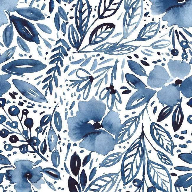 Blue Floral Peel And Stick Wallpaper Chelsea Lane Company In 2020 Peel And Stick Wallpaper Blue Floral Wallpaper Wallpaper