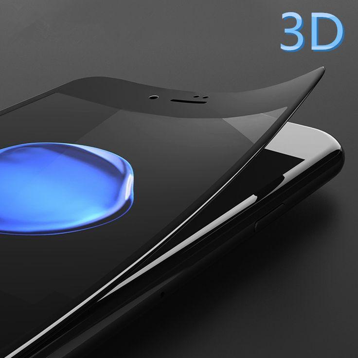 Penuh Tertutup Layar Protector Toughed Serat 3D Putaran Tepi 9 H HD film karbon premium kaca tempered melengkung untuk iphone 6 6 s 7 ditambah