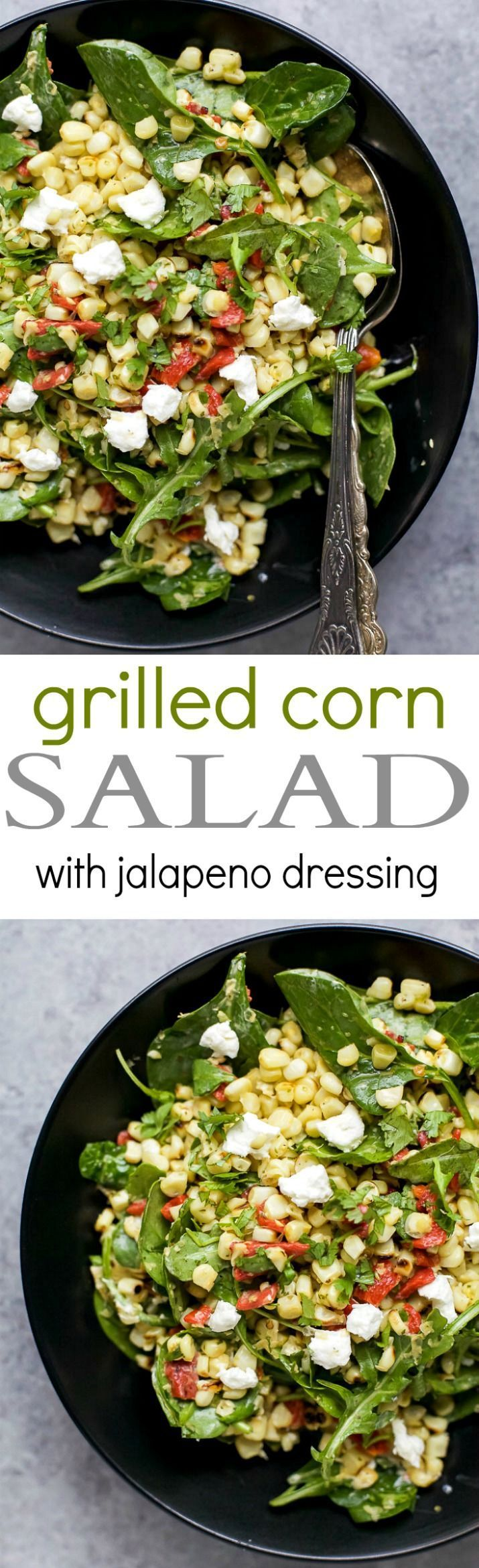 A simple healthy gluten free GRILLED CORN SALAD filled with fresh greens, roasted red pepper, and goat cheese then tossed with a spicy JALAPENO DRESSING. This Corn Salad is the ultimate side dish of the summer!