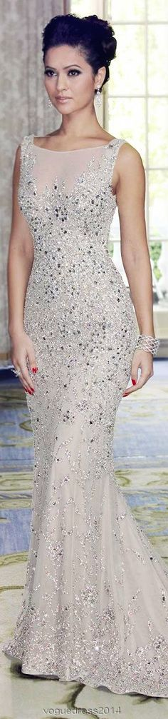 Attractive scoop neck crystal mermaid dress