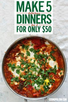 DELICIOUS, CHEAP DINNERS FOR TWO: Here's a week of easy meal ideas for two! Use the grocery shopping list and recipes featured here to plan and make these delicious and easy dinners including Shakshuka with kale salad, roasted chicken and potatoes with spinach salad, chicken and broccoli stir fry over noodles, and more!