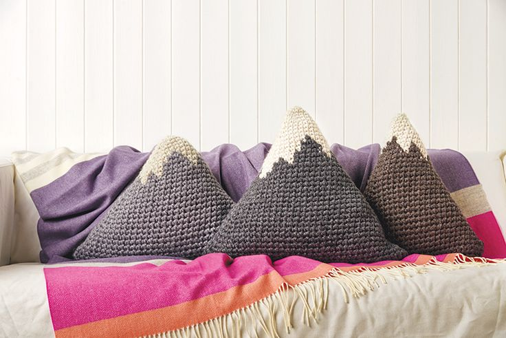 Winter knits for the home. Mini mountain range triangle cushion knitting pattern