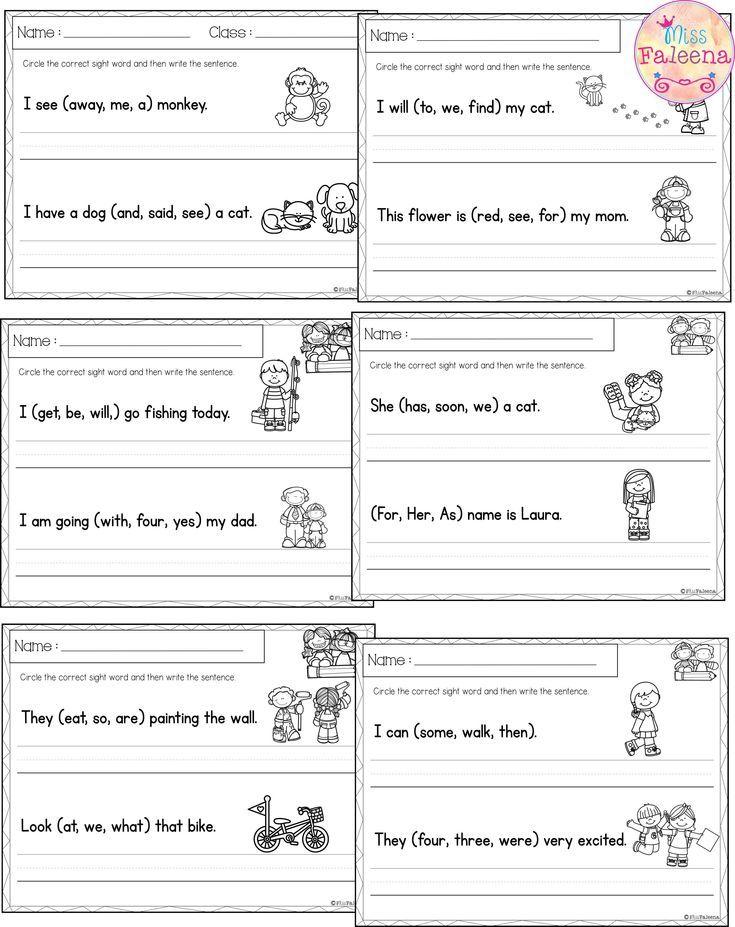 Sight Word Sentence Writing THE BUNDLE   Literacy   Kindergarten ...