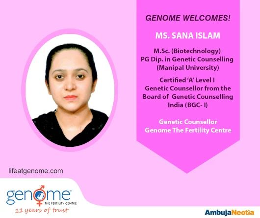 We're proud to welcome Ms Sana Islam as a Genetic Counsellor in our organization