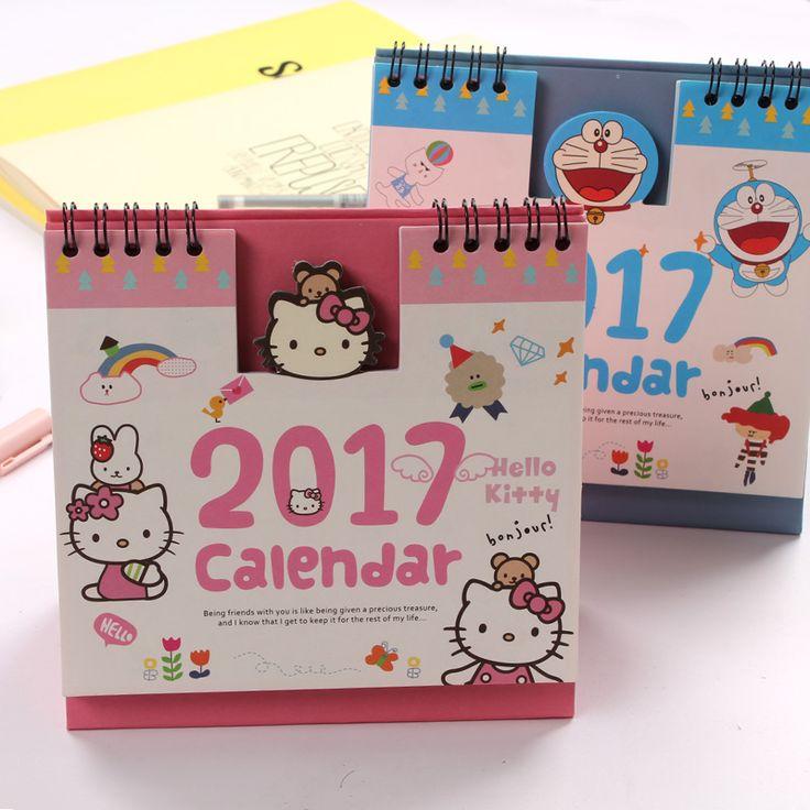2017 Bonjour Kitty Minions Baymax Panda Totoro Mignon de Bande Dessinée Bureau Planificateur Debout Impression Bureau Table Calendrier Pour 2017 de L'ordre Du Jour