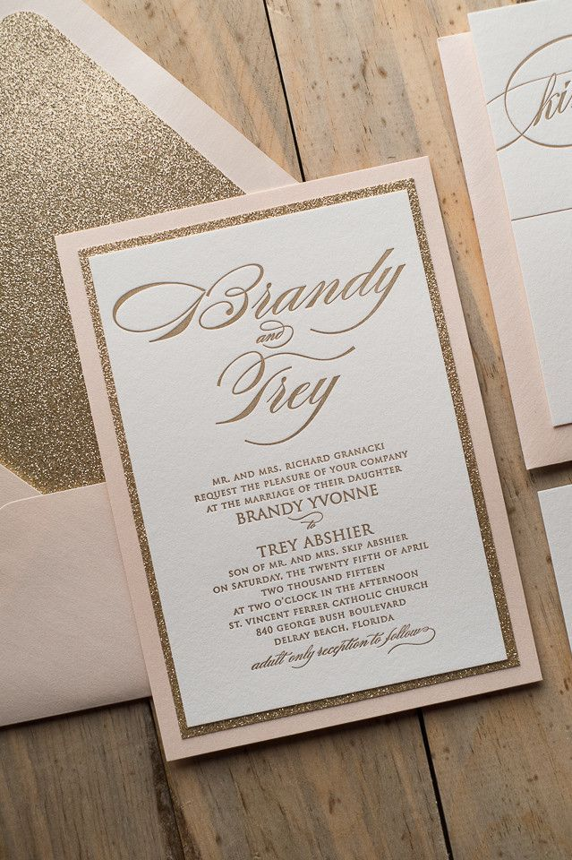 FAITH Suite Fancy Glitter Package, blush and gold, letterpress wedding invitations, 2015 wedding trends, glitter wedding invitations