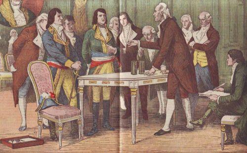 Alessandro Volta presenting and explaining the Voltaic Pile, an early battery, to Napoléon Bonaparte, 1801.