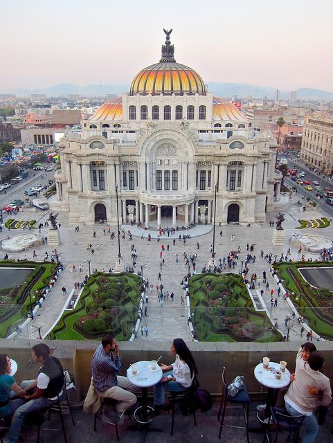 View from Coffee Factory Cafe, the Palace in Mexico City, breath taking #mexcity #bellasartes