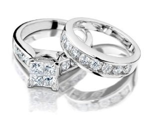 Princess Cut Diamond Engagement Ring and Wedding Band Set 1 Carat (ctw) in 14K White Gold, Size 4.5 --- http://www.pinterest.com.mnn.co/2le
