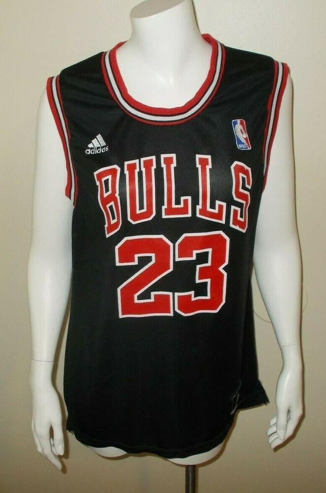 d97803c1db7 Michael Jordan #23 Chicago Bulls Black Adidas NBA Basketball Jersey Size  Large #adidas #ChicagoBulls