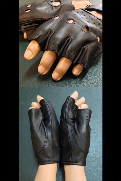Men's leather fingerless gloves. Good quality, reinforced leather on the palm and under fingers