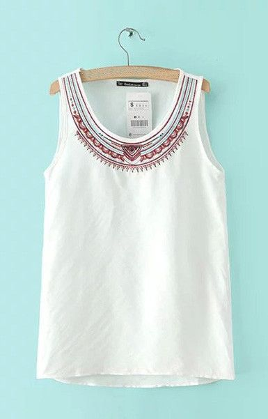 Vintage Embroidery Tank Top