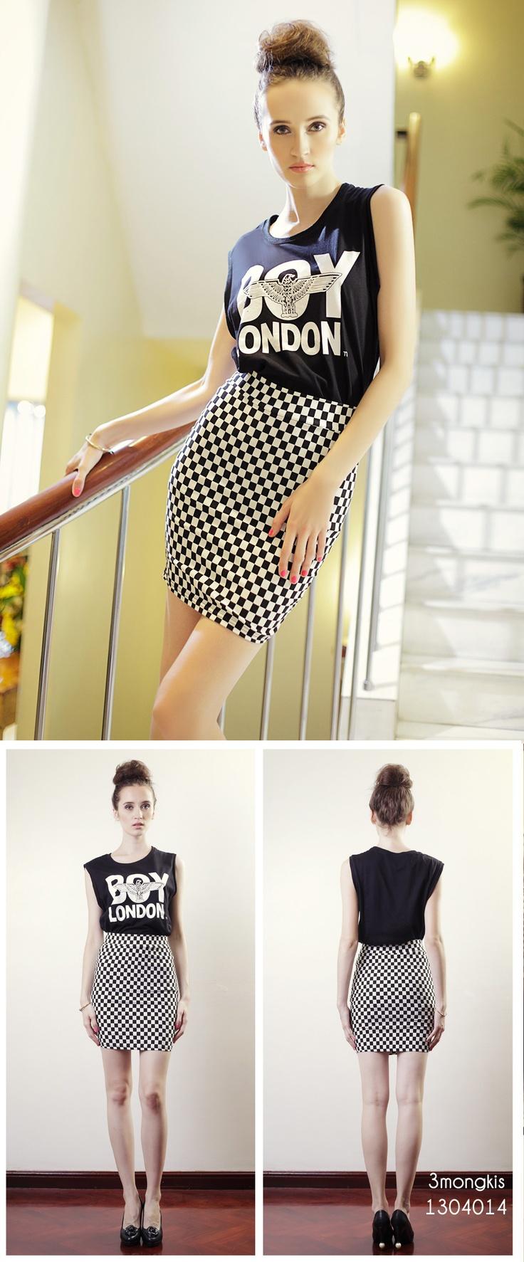 Boy London Sleeveless shirt + Black & White Gingham Tight Skirt