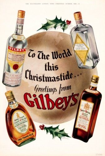 Greetings from Gilbey's.  350 x 240 mm.  Original chromolithograph from The Illustrated London News Christmas Number, 1936. #vintage #advertisement