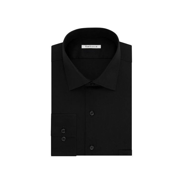 Men's Van Heusen Flex Collar Regular-Fit Dress Shirt, Size: 15.5-32/33, Black
