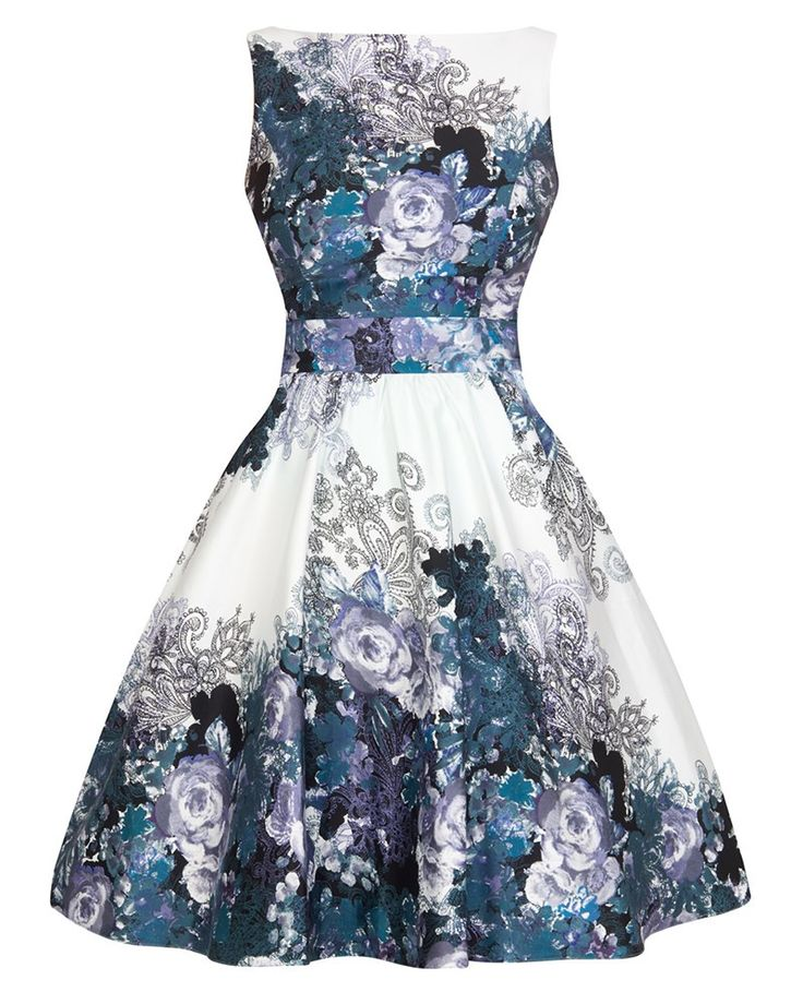 Lady Vintage | Black & Grey Floral Border Tea Dress - Tragic Beautiful buy online from Australia