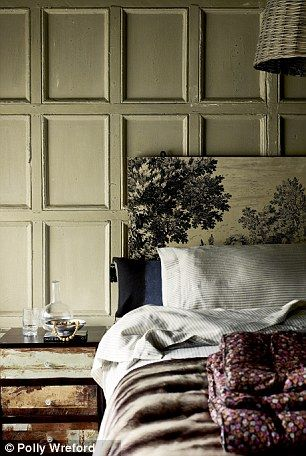 there is a lot going on, and I like the interplay of texture from the wall, the bed linens, the old chest