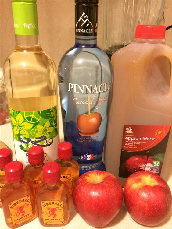 Pinterest: @ britaneiroberts Caramel Apple Sangria with Fireball Soaked Apples! One bottle of Pinot Grigio (I like Flip Flop brand) Caramel Vodka (pinnacle or Smirnoff works) Apple Cider 2 apples will soak real nicely, if you slice and chop and soak overnight in 5 nips of Fireball Cinnamon Whiskey Delish!!!