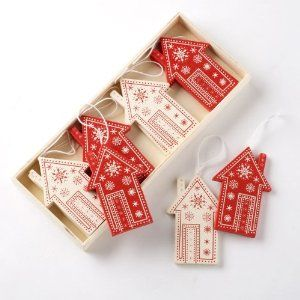 Scandinavian style red and white Christmas houses