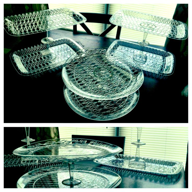 Dollar Tree do it yourself tiered dessert trays - MADE ALL OF THESE FOR $8.00!!   materials needed - trays, plastic wine glasses, and super glue or other strong adhesive. #cheap #diy #dessert #trays