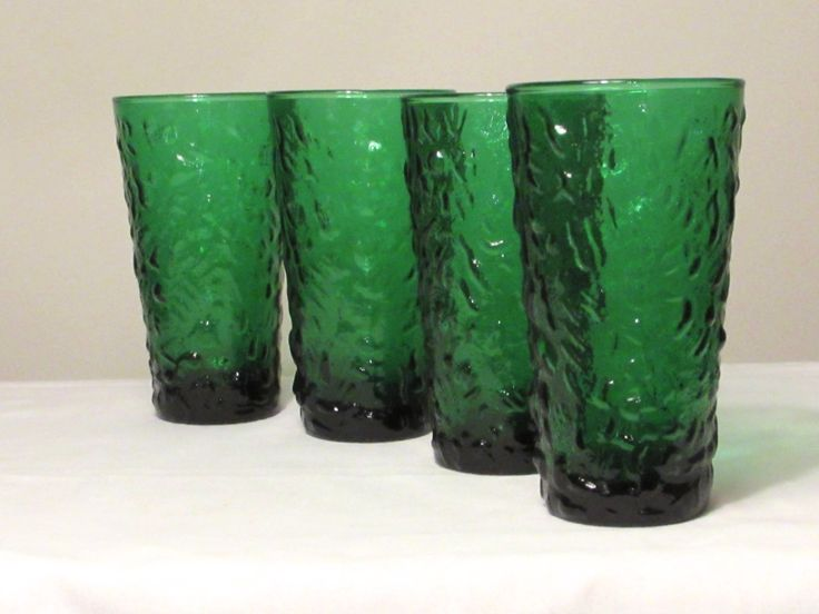 Emerald Green Drinking Glasses Set of 4 Anchor Hocking Milano Lido Crinkle Glasses Crinkle Glass Tumblers Rare Tumblers laslovelies (32.00 USD) by LasLovelies
