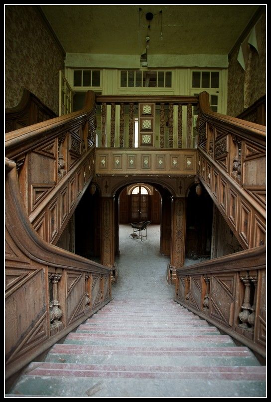 Absolutely stunning staircase in an abandoned hospital