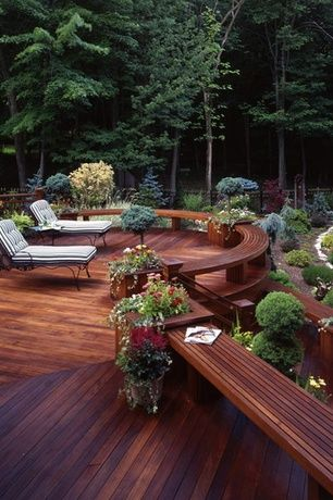 Rustic Deck with Advantage Lumber 1 x 4 +PLUS Cumaru, Woodard Briarwood Adjustable Chaise Lounge, Fence, Pathway, Raised beds