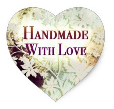 1.5inch Handmade With Love heart stickers (naturals) #Affiliate