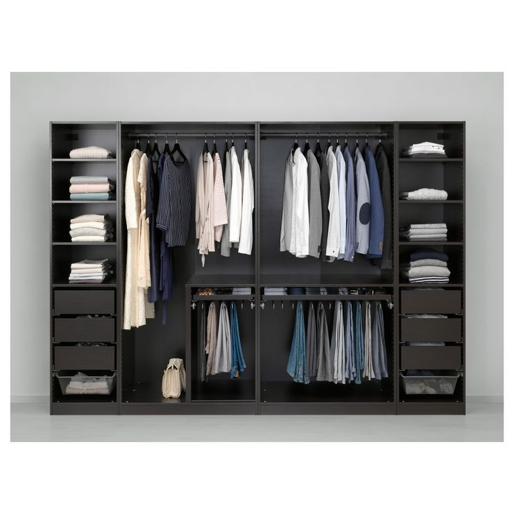 Ikea Pax Wardrobe Black Brown Undredal Undredal Glass