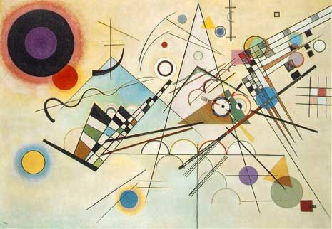 Kandinsky's Composition 8 is a great example of asymmetrical balance. If you look you'll notice most of the individual elements are symmetrical forms.