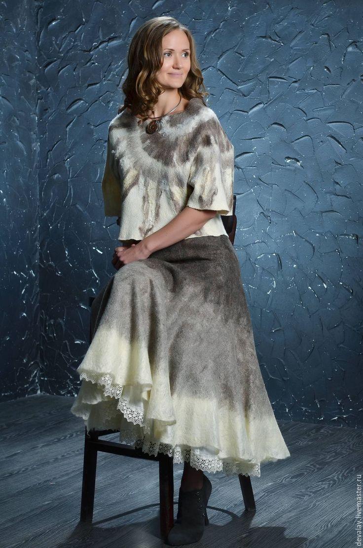 Купить Солнцеворот - серый, авторский валяный костюм, костюм женский, костюм валяный, экостиль
