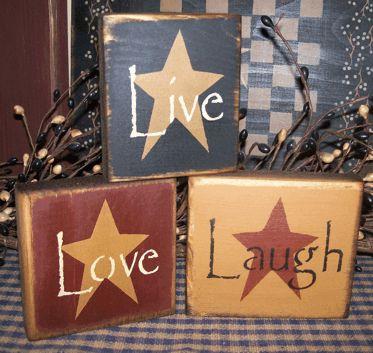LIVE LOVE LAUGH PRIMITIVE SHELF SITTERS SIGNS SIGN