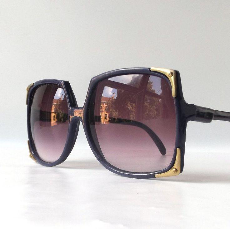 0208363f9647e vintage 1980 s NOS oversized square sunglasses purple plastic frames lenses  sun glasses eyewear accessories modern mens womens brass metal