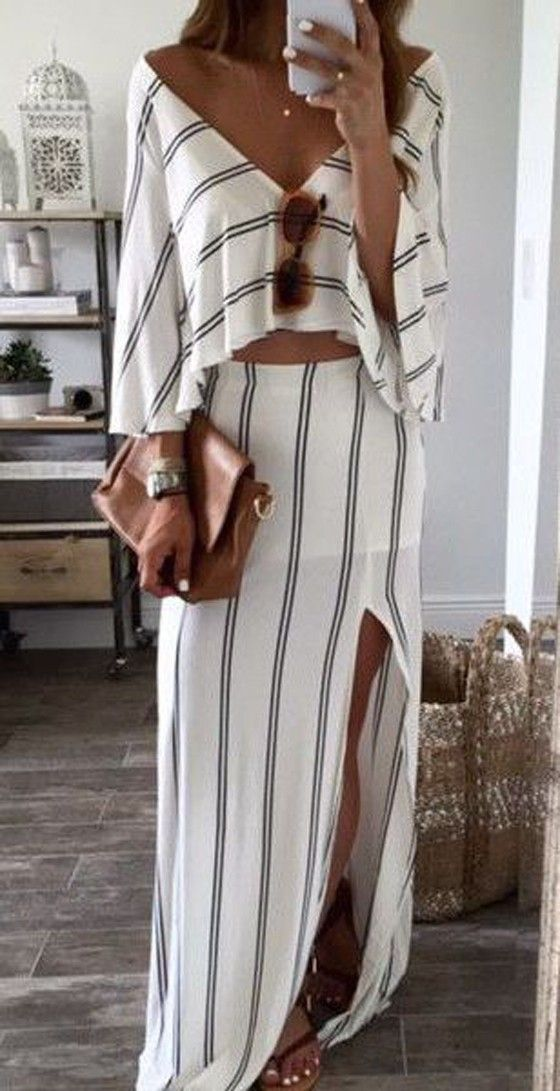 White Striped Bandeau Backless Boat Neck Sexy Maxi Dress. Don't know about showing the belly... But this is so cute