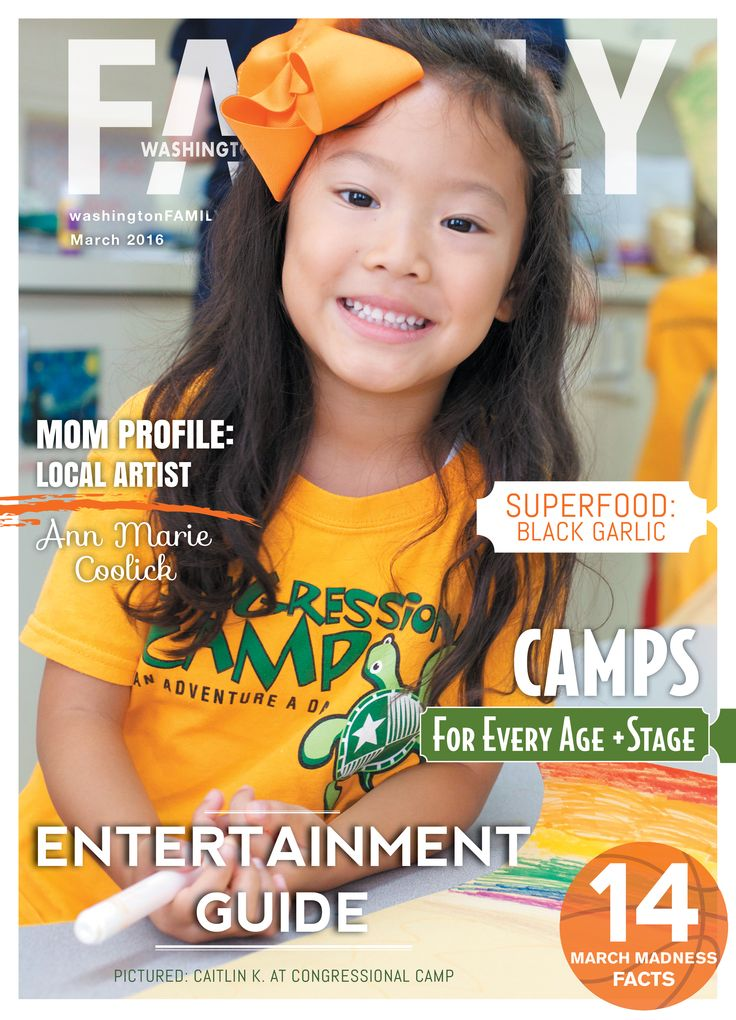 Our March issue features a local Arlington artist & mother, 10 awesome local events to celebrate Youth Arts Month, our brand new entertainment guide and so much more! Visit www.washingtonFAMILY.com for more information!