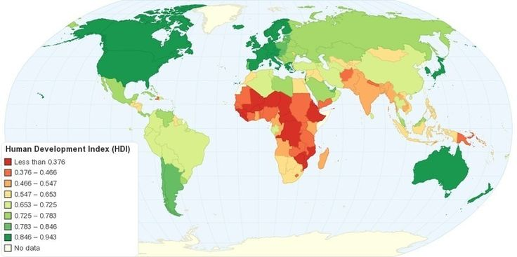 """This map shows Human Development Index (HDI) for 169 countries in the World. The HDI is a comparative measure of life expectancy, literacy, education, and standard of living for countries worldwide. The HDI sets a minimum and a maximum for each dimension, called goalposts, and then shows where e..."