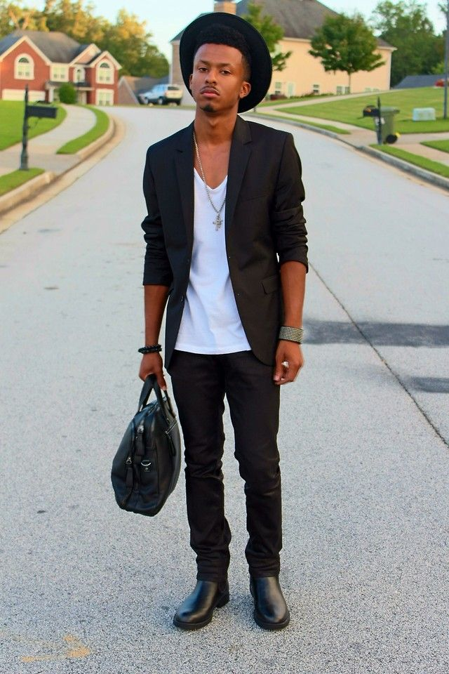 Kadeem Johnson - Thrift Black Porkpie Hat, H&M Black Blazer, Zara White  Wide Neck T Shirt, Fabrixquare Black Coated Jeans, H&M Black Leather  Chelsea Boots, Rue 21 Black Studded Bracelet, Rue 21 Silver Necklace -  Style | LOOKBOOK