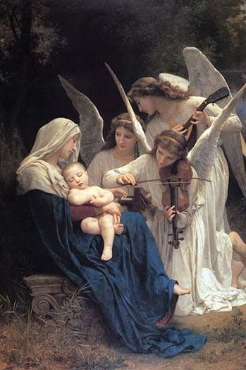 Madonna Hold Baby while Winged Angels play musical Instruments